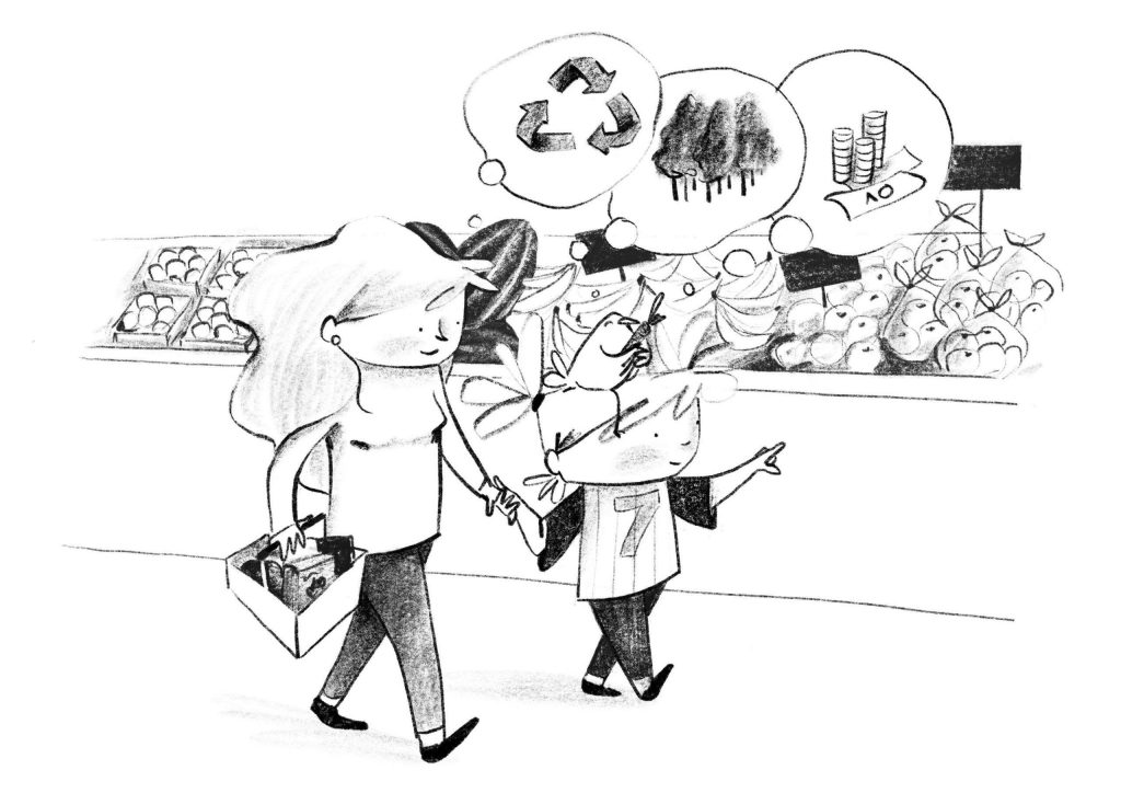 Illustration of Marty with her mum shopping - A Smart Way To Start