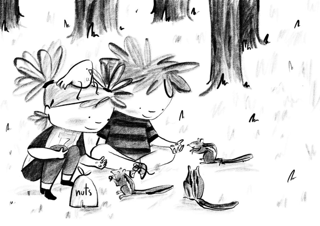 Illustration of Marty with Edmund feeding squirrels- A Smart Way To Start
